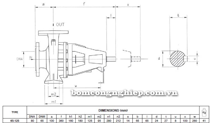 Máy bơm nước trục rời Foras 4MA 65-125 bảng thông số kích thước