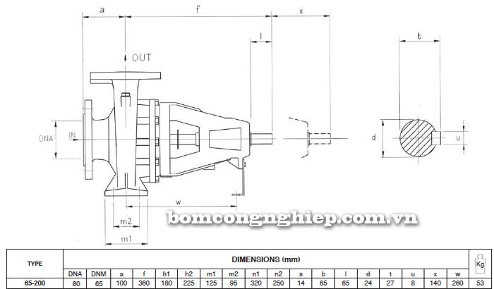 Máy bơm trục rời Foras 4MA 65-200 bảng thông số kích thước