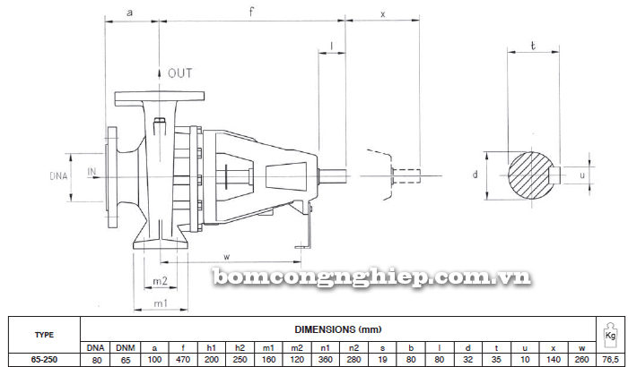 Máy bơm trục rời Foras 4MA 65-250 bảng thông số kích thước