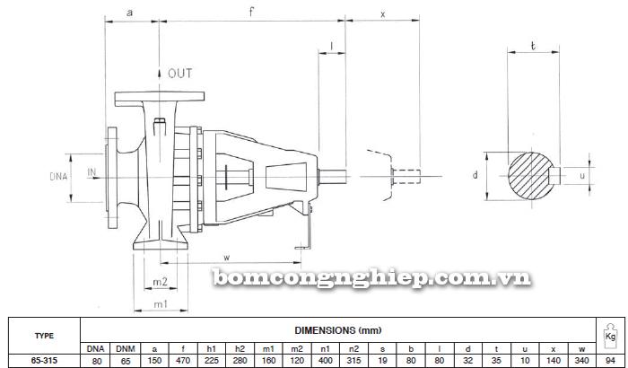 Máy bơm trục rời Foras 4MA 65-315 bảng thông số kích thước