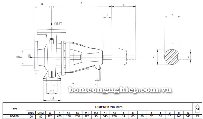 Máy bơm trục rời Foras 4MA 80-200 bảng thông số kích thước