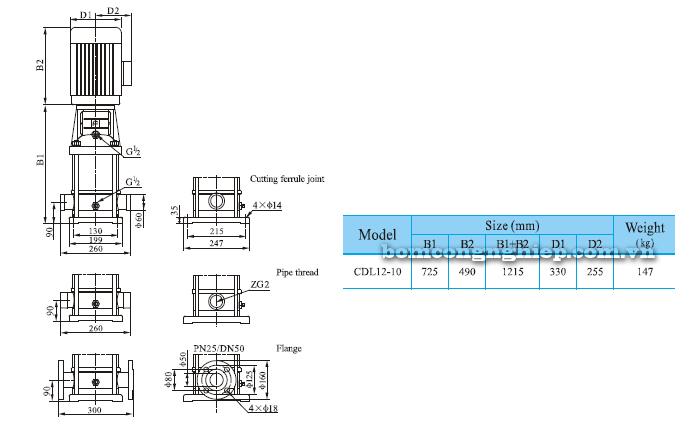 Bơm trục đứng CNP CDLF 12-10 bảng thông số kích thước