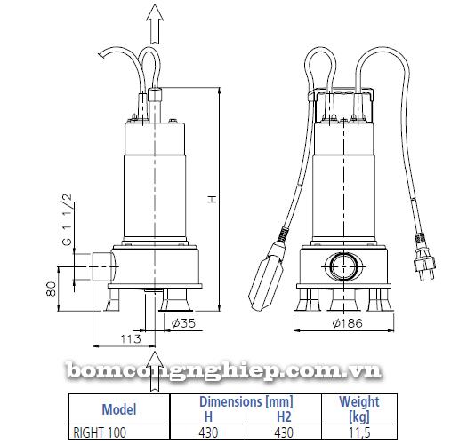 Máy bơm nước thải Ebara RIGHT 100 bảng thông số kích thước