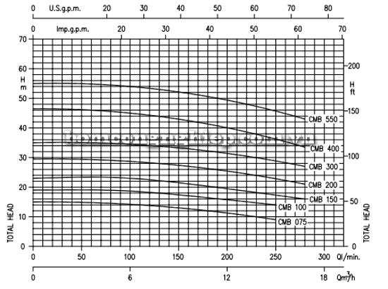 Máy bơm ly tâm hút giếng Ebara CMB biểu đồ lưu lượng