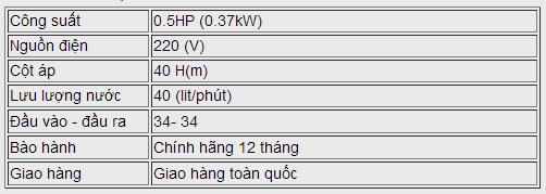 Máy bơm nước chân không LEO XKM 60-1 bảng thông số kỹ thuật