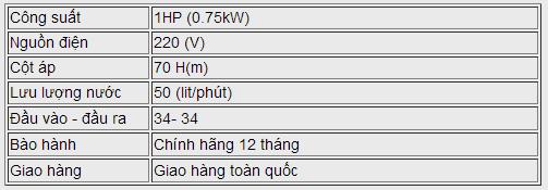 Máy bơm nước chân không LEO XKM 80-1 bảng thông số kỹ thuật