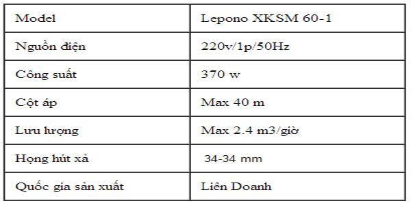 Máy bơm nước chân không LEO XKSm 60-1 bảng thông số kỹ thuật