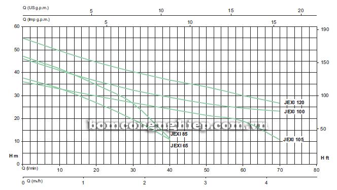 Máy bơm nước đầu Inox Sealand JEXI 100 biểu đồ lưu lượng