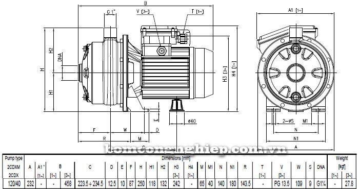 Máy bơm nước Ebara 2CDX 120/40 bảng thông số kích thước