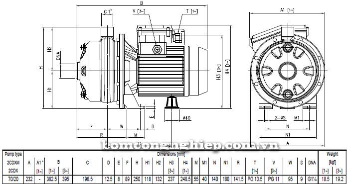 Máy bơm nước Ebara 2CDX 70/20 bảng thông số kích thước