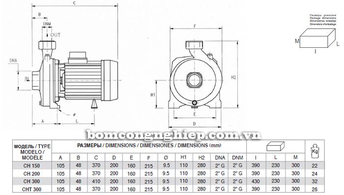 Máy bơm nước lưu lượng Pentax CH bảng thông số kích thước