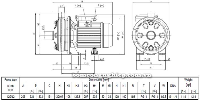 Máy bơm nước ly tâm Ebara CDXM 120/12 bảng thông số kích thước