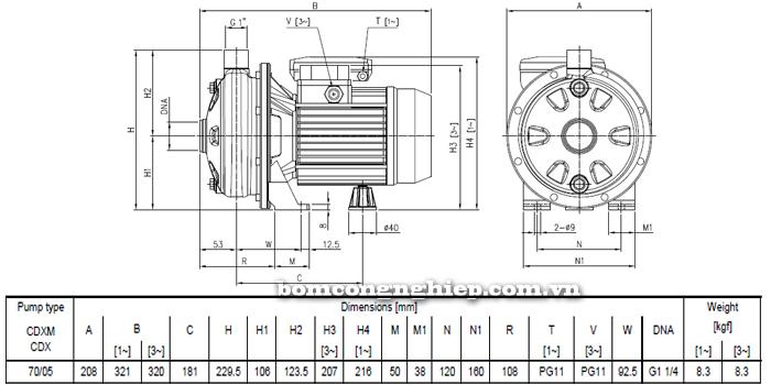 Máy bơm nước ly tâm Ebara CDXM 70/05 bảng thông số kích thước