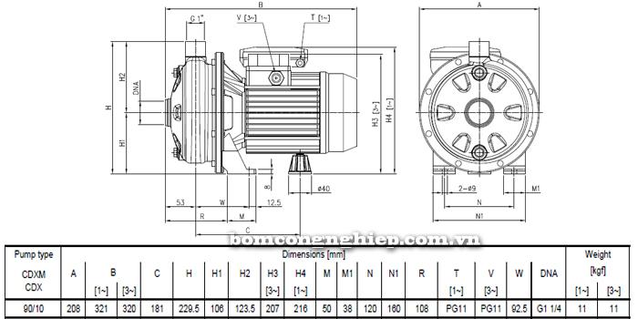 Máy bơm nước ly tâm Ebara CDXM 90/10 bảng thông số kích thước