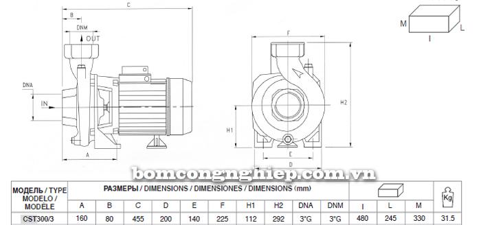 Máy bơm nước Pentax CST 300/3 bảng thông số kích thước