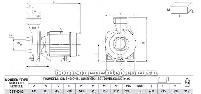 Máy bơm nước Pentax CST 400/3 bảng thông số kích thước