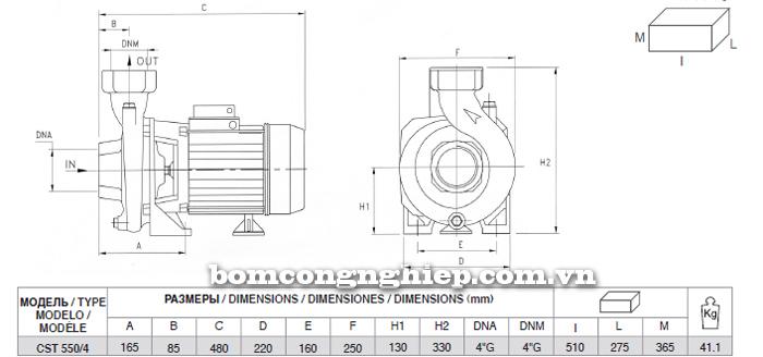 Máy bơm nước Pentax CST 550/4 bảng thông số kích thước