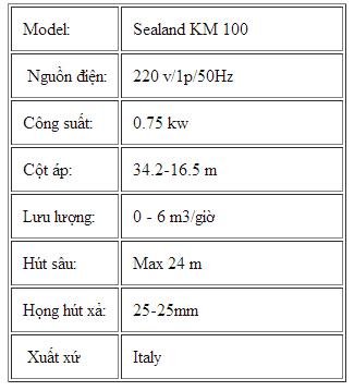 Máy bơm nước Sealand KM-100 bảng thông số kỹ thuật