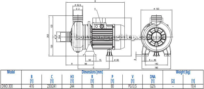 Máy bơm nước thải cạn Ebara DWO 300 bảng thông số kích thước