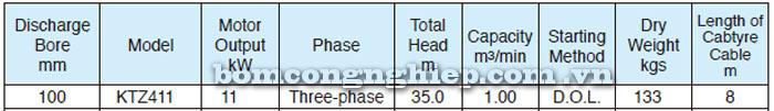 Bơm chìm nước thải Tsurumi KTZ411 bảng thông số kỹ thuật