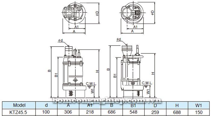 Bơm chìm nước thải Tsurumi KTZ45.5 bảng  thông số kích thước