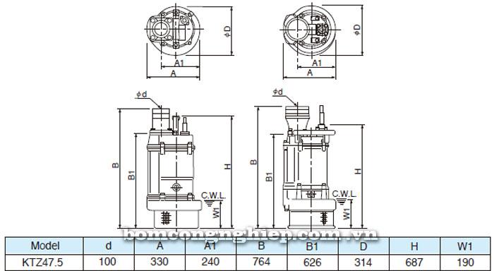 Bơm chìm nước thải Tsurumi KTZ47.5 bảng thông số kích thước