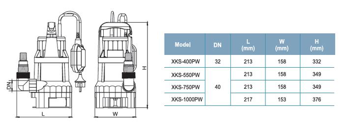 Bơm chìm nước thải LEO XKS-400PW bảng thông số kích thước