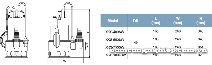 Bơm chìm nước thải LEO XKS-400SW bảng thông số kích thước