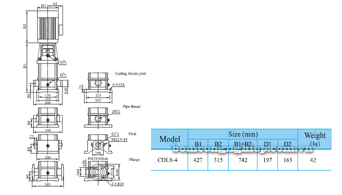 Bơm trục đứng CNP CDLF 8-4 bảng thông số kích thước