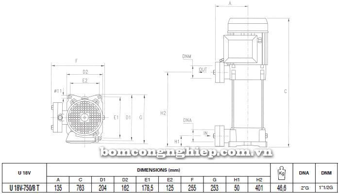 Máy bơm nước trục đứng Pentax U18V-750/8T bảng thông số kích thước