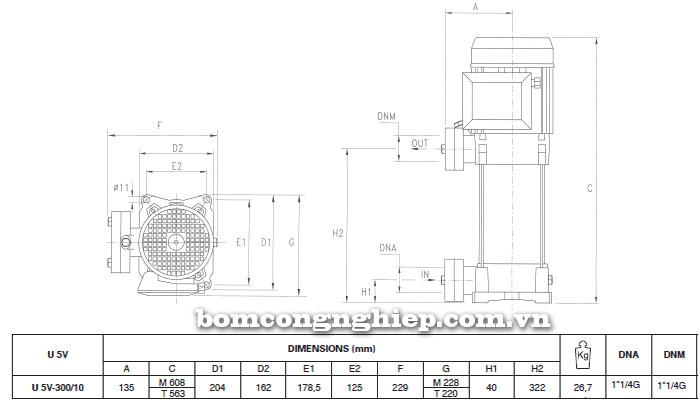 Máy bơm nước trục đứng Pentax U5V-300/10T bảng thông số kích thước