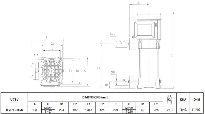 Máy bơm nước trục đứng Pentax U7SV-300/6T bảng thông số kích thước