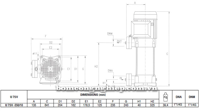 Máy bơm nước trục đứng Pentax U7SV-550/10T bảng thông số kích thước