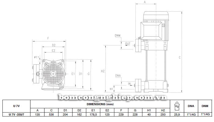 Máy bơm nước trục đứng Pentax U7V-350/7T bảng thông số kích thước