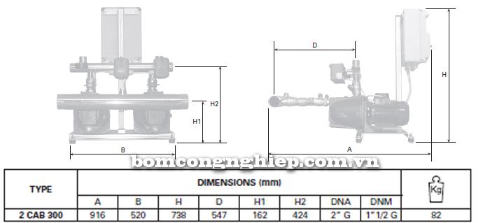 pentax-booster-2cab-300 bảng thông số kích thước
