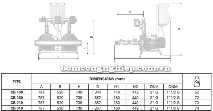 Pentax BOOSTER 2CBT 100-310 bảng thông số kích thước