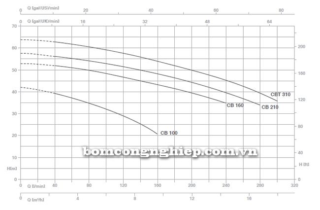 Pentax BOOSTER 2CBT 100-310 biểu đồ lưu lượng