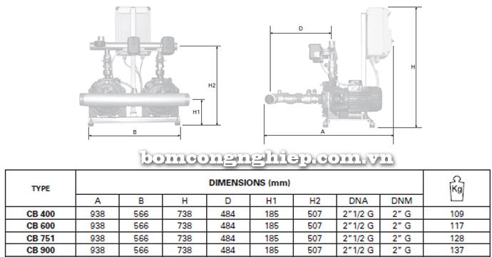 Pentax BOOSTER 2CBT 400-900 bảng thông số kích thước