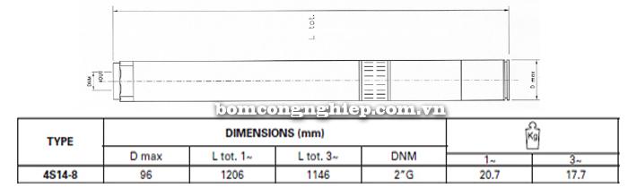 Bơm chìm giếng khoan Pentax 4S 14-8 bảng thông số kích thước