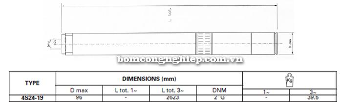 Bơm chìm giếng khoan Pentax 4S 24-19 bảng thông số kích thước
