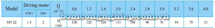 Bơm chìm hỏa tiễn CNP SJ3-22 bảng thông số kỹ thuật