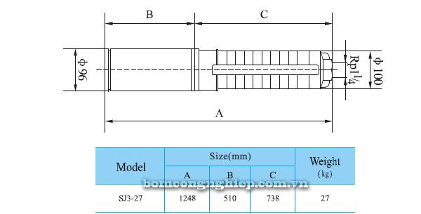 Bơm chìm hỏa tiễn CNP SJ3-27 bảng thông số kích thước