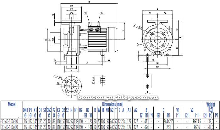 Bơm công nghiệp Ebara 3D 40-160 bảng thông số kích thước