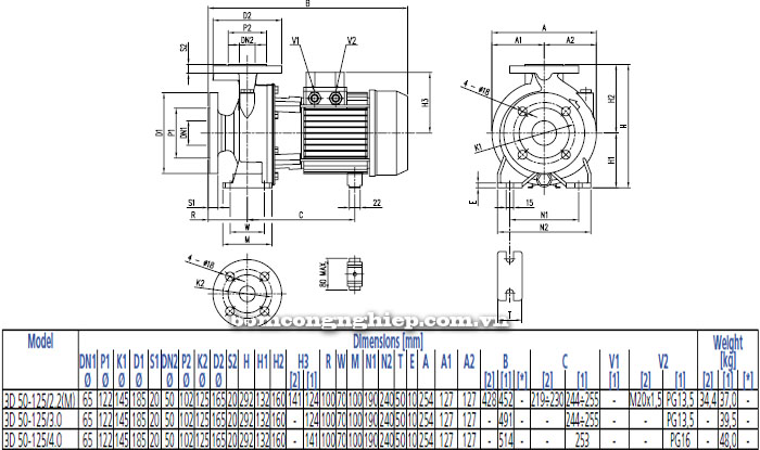 Bơm công nghiệp Ebara 3D 50-125 bảng thông số kích thước