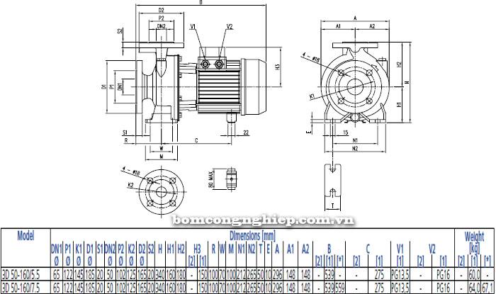 Bơm công nghiệp Ebara 3D 50-160 bảng thông số kích thước