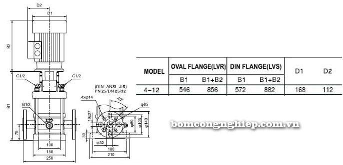 Bơm trục đứng Leopono LVS 4-12 bảng thông số kích thước