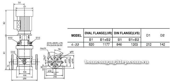 Bơm trục đứng Leopono LVS 4-22 bảng thông số kích thước