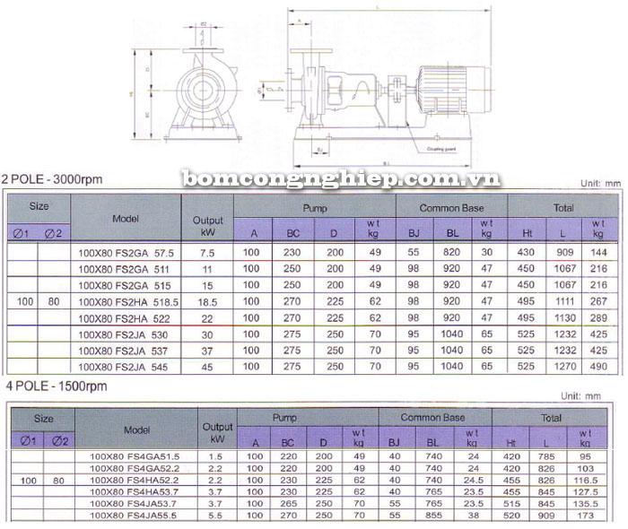 Bơm trục rời Ebara FSA 100x80 bảng thông số kỹ thuật