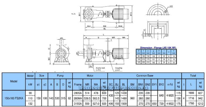 Bơm trục rời Ebara FSA 150x100 bảng thông số kỹ thuật