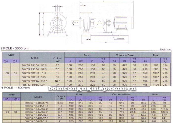 Bơm trục rời Ebara FSA 80x65 bảng thông số chi tiết kích thước